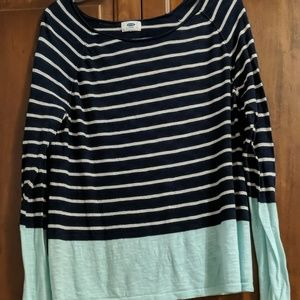 Mint & Navy Striped Sweater